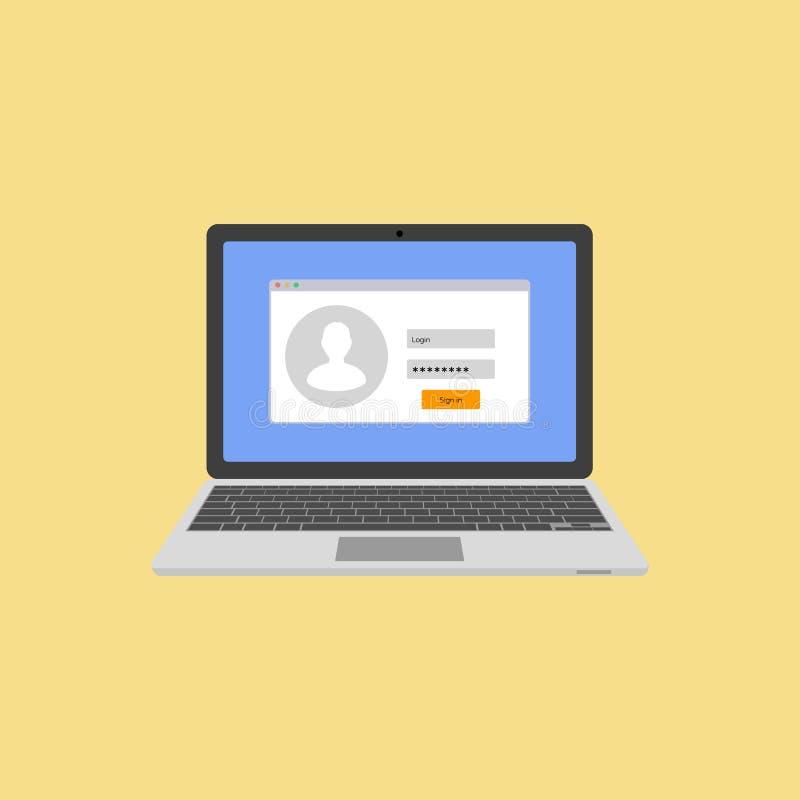 Laptop mit Ermächtigung auf dem Schirm Anmeldung und Passwort des Benutzers Anmeldung zum System oder zum Konto Vektor vektor abbildung