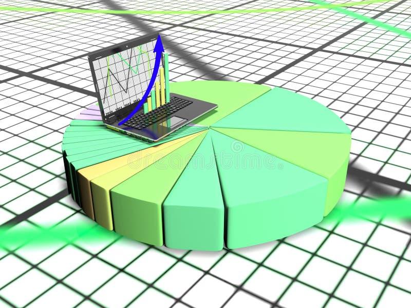 Laptop mit Geschäfts- oder Gewinnwachstumsbalkendiagramm, 3d übertragen stock abbildung