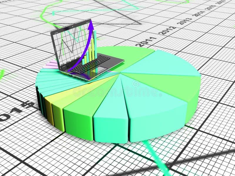 Laptop mit Geschäfts- oder Gewinnwachstumsbalkendiagramm, 3d übertragen vektor abbildung