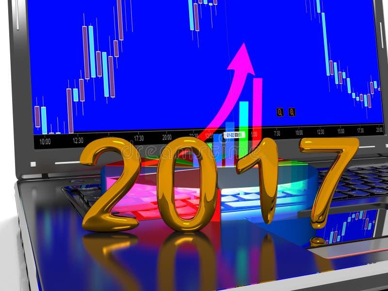 Laptop mit Geschäfts- oder Gewinnwachstumsbalkendiagramm, 3d übertragen lizenzfreie abbildung