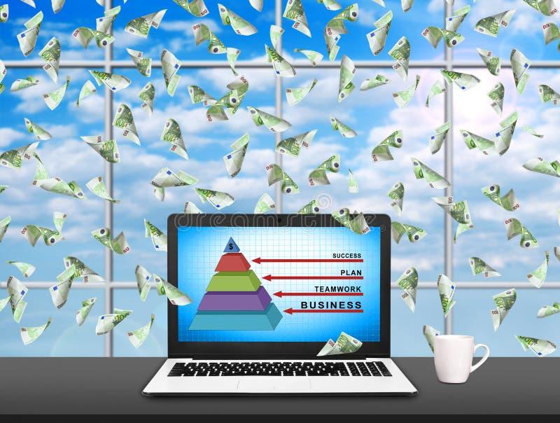 Laptop mit Geschäftspyramide lizenzfreie abbildung