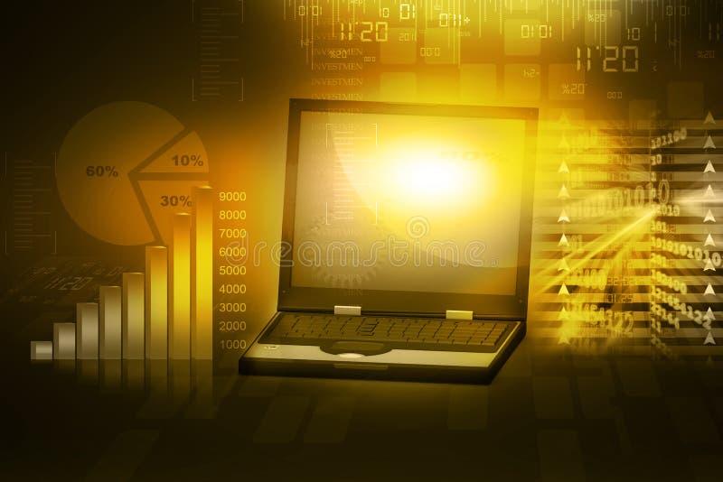 Laptop mit Geschäftswachstumsbalkendiagramm stock abbildung