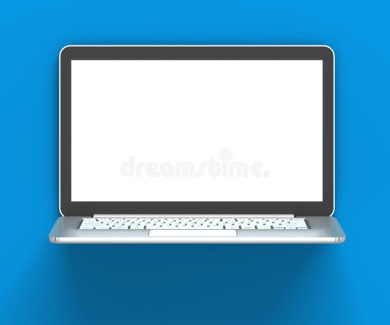 Metallischer Laptop 3d Mit Leerem Bildschirm Stock