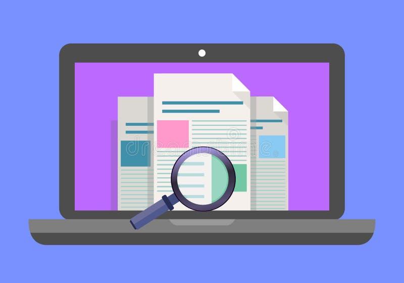 Laptop mit Lupe auf Schirm Netzsuche, Internet-Suchkonzepte Flache Designvektorillustration stock abbildung