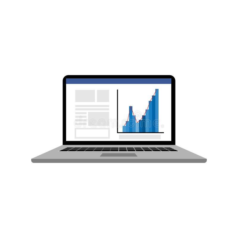 Laptop mit Nachrichten und Diagramm auf Schirm lizenzfreie abbildung