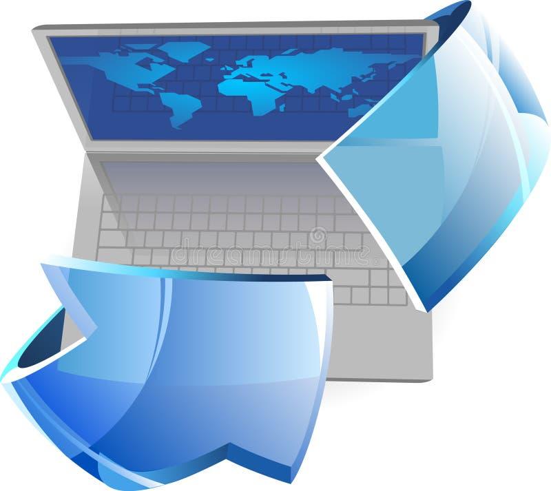 Laptop mit Pfeil vektor abbildung