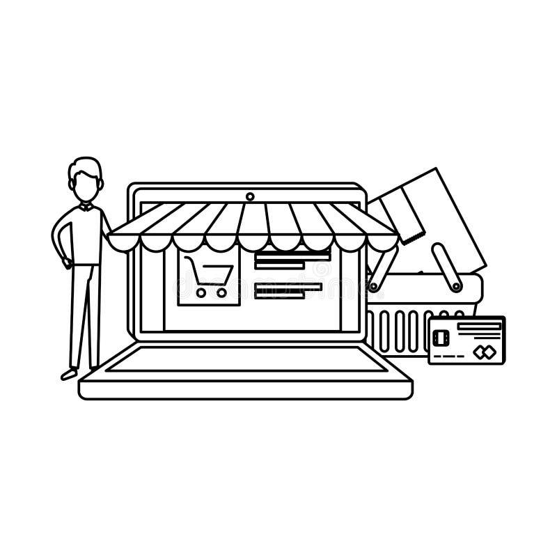 Laptop mit Sonnenschirm und Kunden stock abbildung