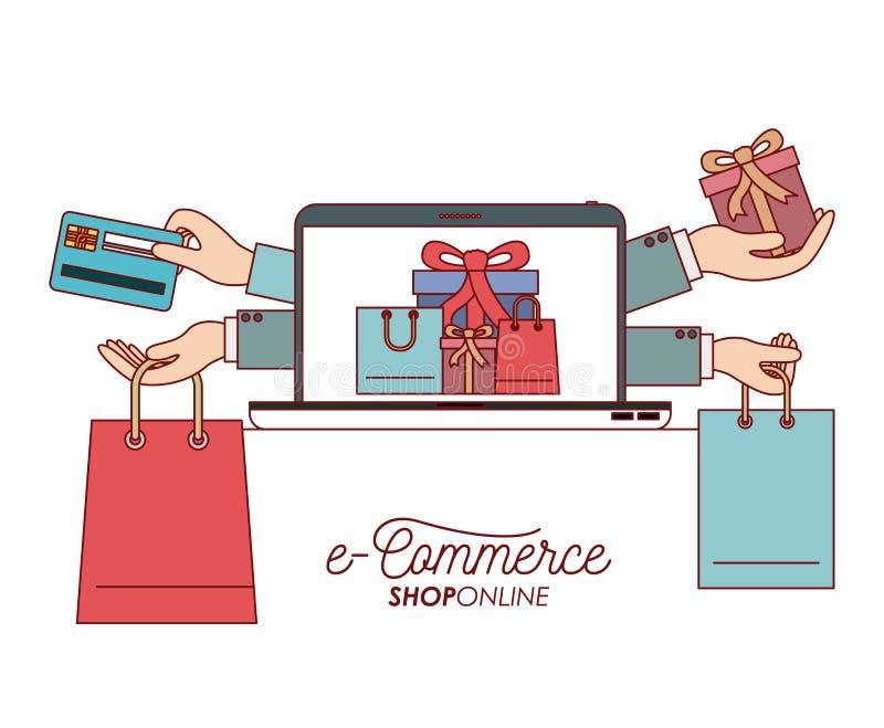 Laptop mit Tapete des Satzgeschenk- und Tascheneinkaufsprozesse-commerce-Shops online auf weißem Hintergrund vektor abbildung