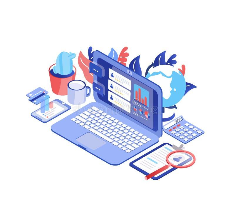 Laptop mit Verbraucherberichten auf Schirm, Smartphone, Becher, Kugel Kunden-Verhältnis-Management, Service-Feedback lizenzfreie abbildung