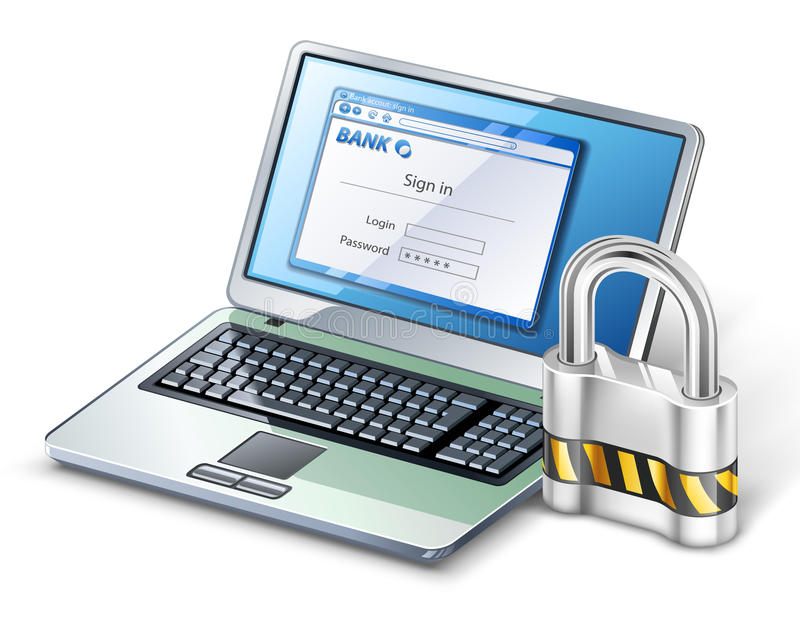 Laptop mit Verriegelung. lizenzfreie abbildung