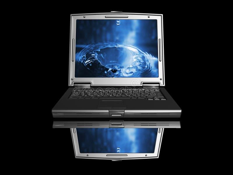 Laptop mit Wassertropfen stockfotografie