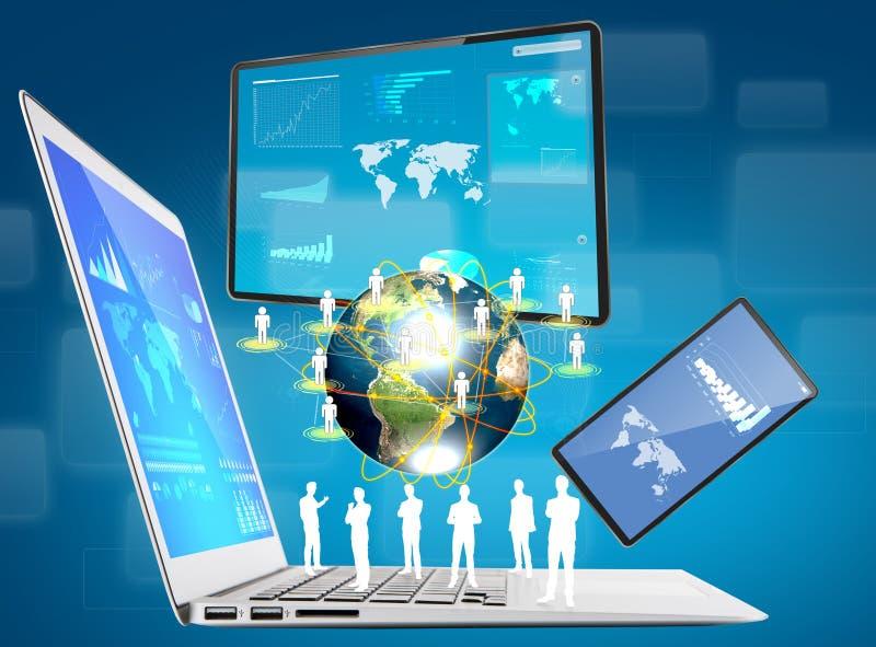 Laptop, mobiele telefoon, het apparaat van het aanrakingsscherm stock illustratie