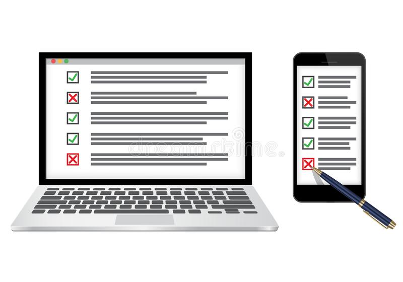 Online survey or checklist concept vector illustration. Laptop and mobile with checkboxes filled with check marks. Vector illustration isolated on white vector illustration