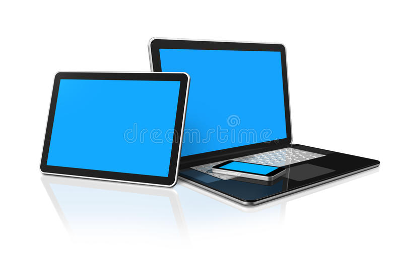 Download Laptop, Mobile Phone And Digital Tablet Pc Stock Illustration - Illustration of phone, cellphone: 20736838