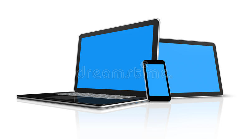 Laptop, mobile phone, digital tablet pc. 3D laptop, mobile phone and digital tablet pc computer stock illustration
