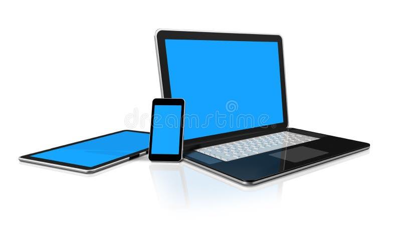 Laptop, mobile phone, digital tablet pc stock illustration