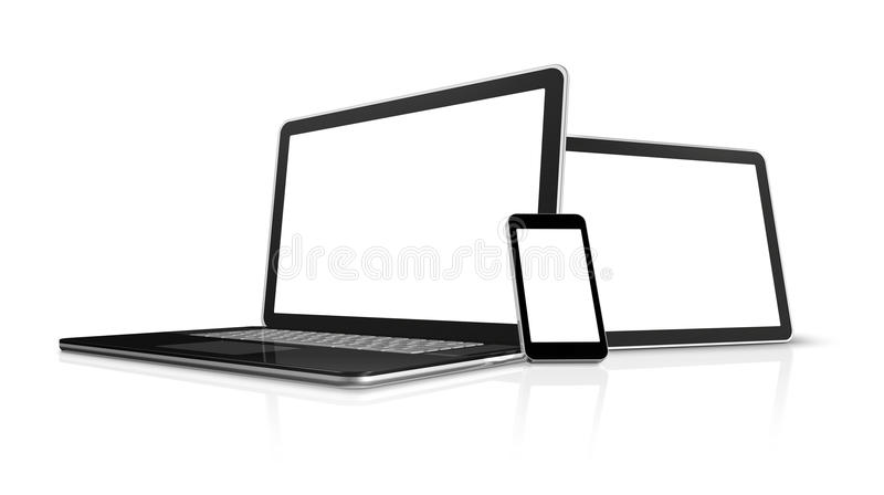Laptop, mobile phone, digital tablet pc. 3D laptop, mobile phone and digital tablet pc computer - isolated on white with clipping path vector illustration