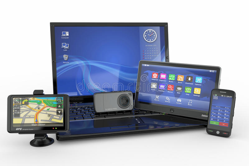 Laptop, Mobile Phone, Tablet Pc And Gps Stock Image