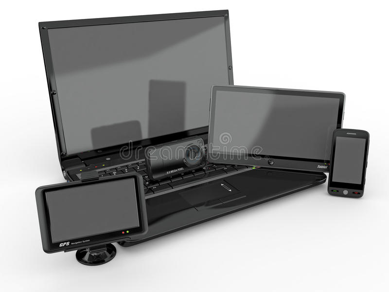 Download Laptop, Mobile Phone, Tablet Pc And Gps. 3d Stock Illustration - Image: 21502838