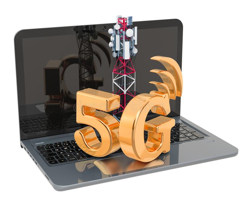 Laptop with mobile tower, 5G concept. 3D rendering. Isolated on white background stock illustration