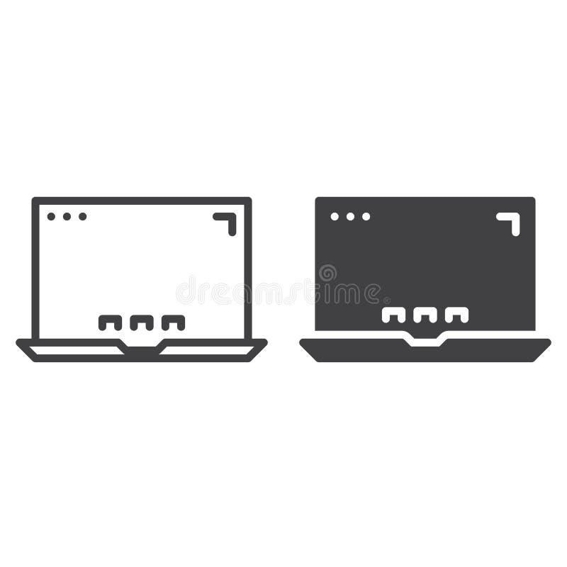 Laptop, mobilna komputerowa linia, bryły ikona, kontur i piktogram odizolowywający na bielu, wypełniający wektoru znaka, linioweg royalty ilustracja