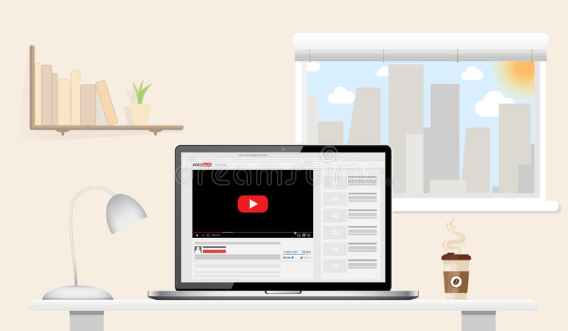 sunny day home office. laptop mockup with online video blog screen standing on table in home office sunny day vlog concept vector