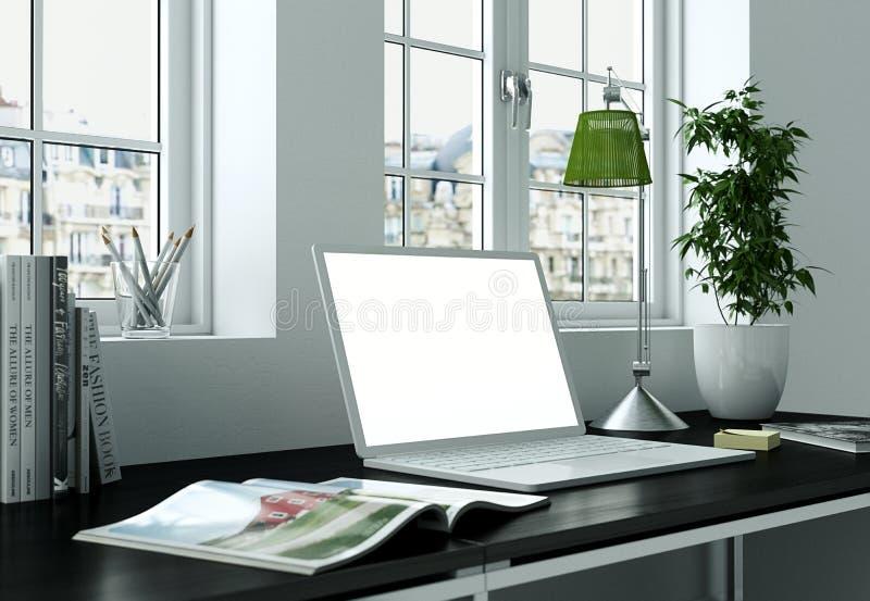 Laptop Model met witte het Schermtribunes op het Bureau vector illustratie