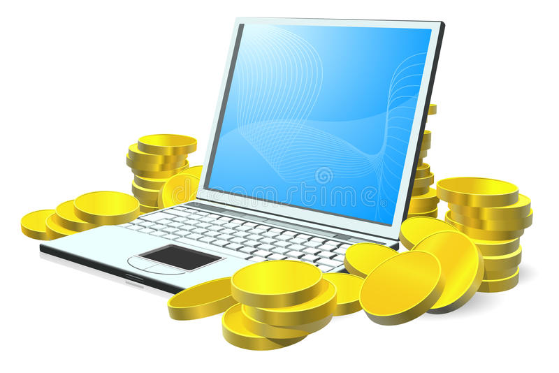 Laptop money concept stock illustration
