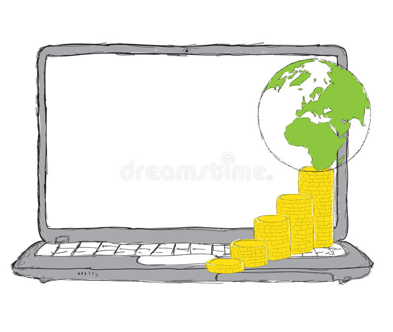 Download Laptop   Money, Web And IT Business Concept Stock Illustration - Image: 23506686