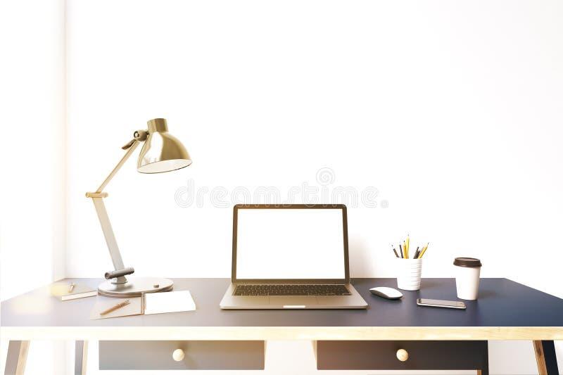 Laptop monitor op een blauw gestemd bureau, vector illustratie