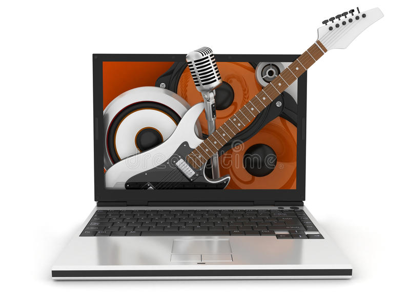 Laptop Music Symbol Stock Images