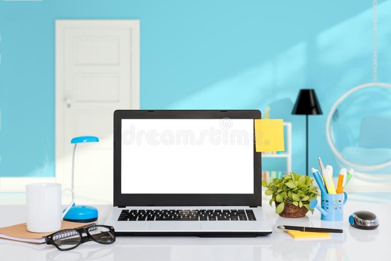 laptop na biurka workspace obraz stock