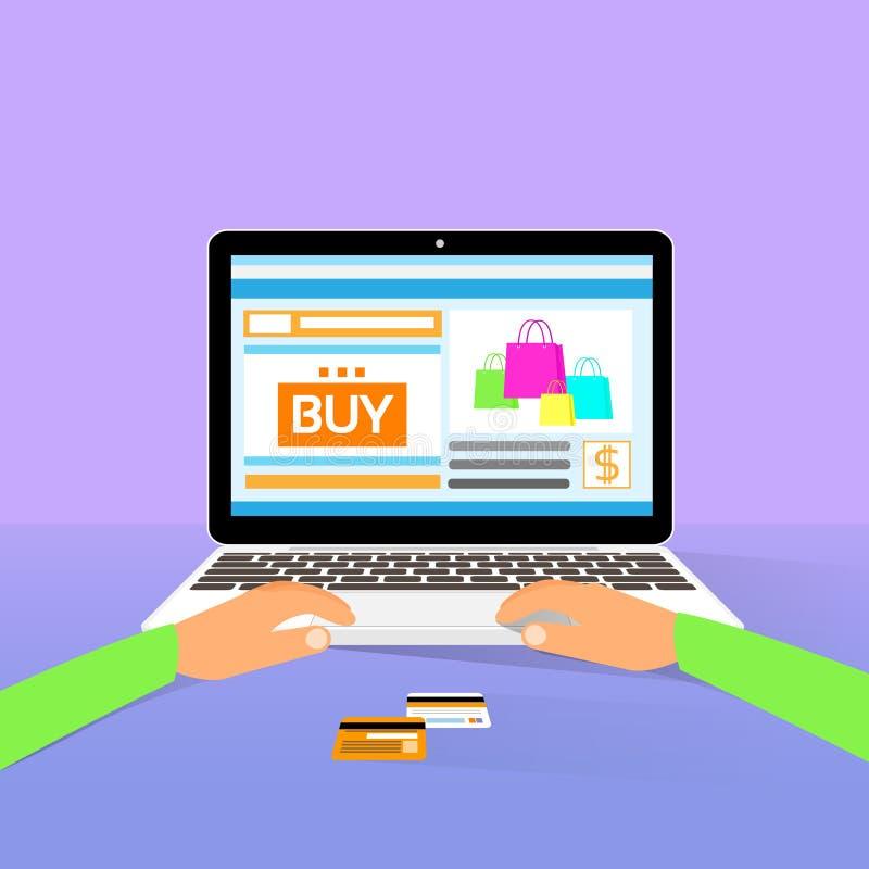 Laptop na kreskowych zakupy rękach pisać na maszynie zakupowi płaskiego projekt royalty ilustracja