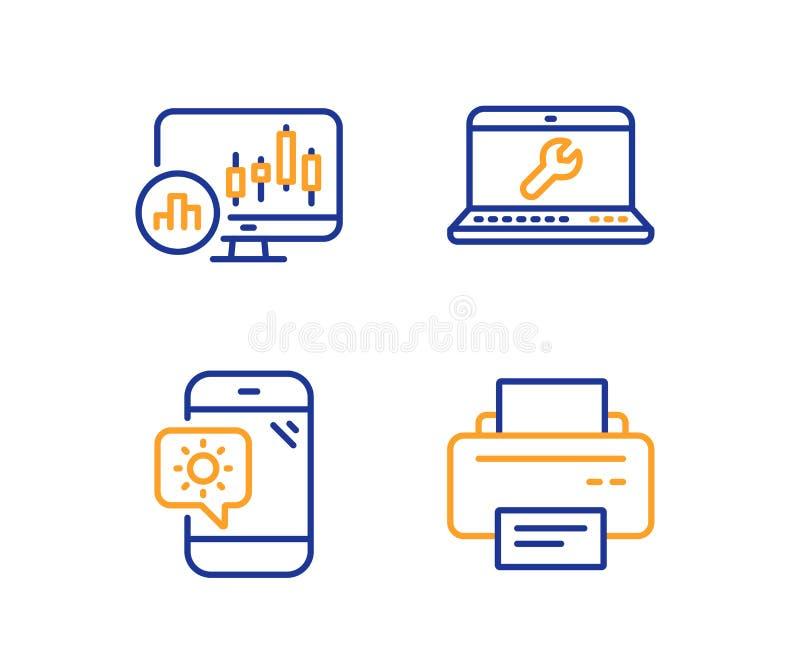 Laptop naprawa, Pogodowy telefon i Candlestick, sporządzamy mapę ikony ustawiać Drukarka znak wektor ilustracji