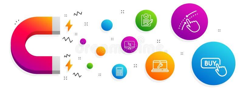 Laptop naprawa, zamach w g?r? i Internetowe ikony ustawia?, Kalkulatora, Rfp i zakupu guzika znaki, wektor ilustracji