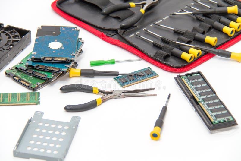 Laptop naprawy pomoc techniczna i narzędzia fotografia royalty free
