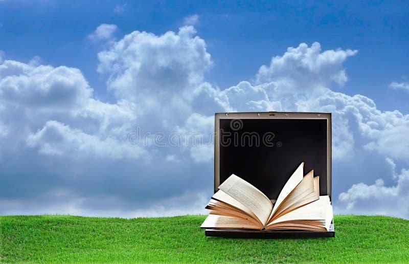 Laptop on nature stock image