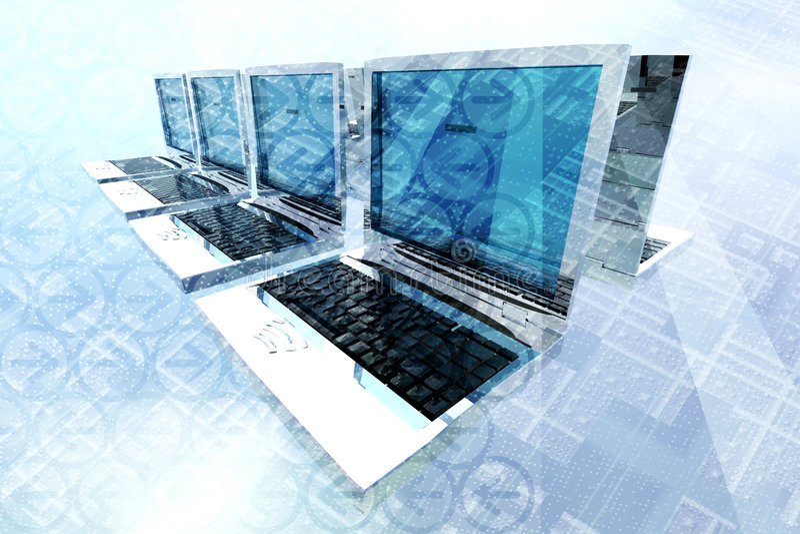 Laptop netwerk   stock illustratie