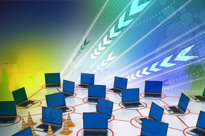 Laptop netwerk met verkeerskegel royalty-vrije illustratie