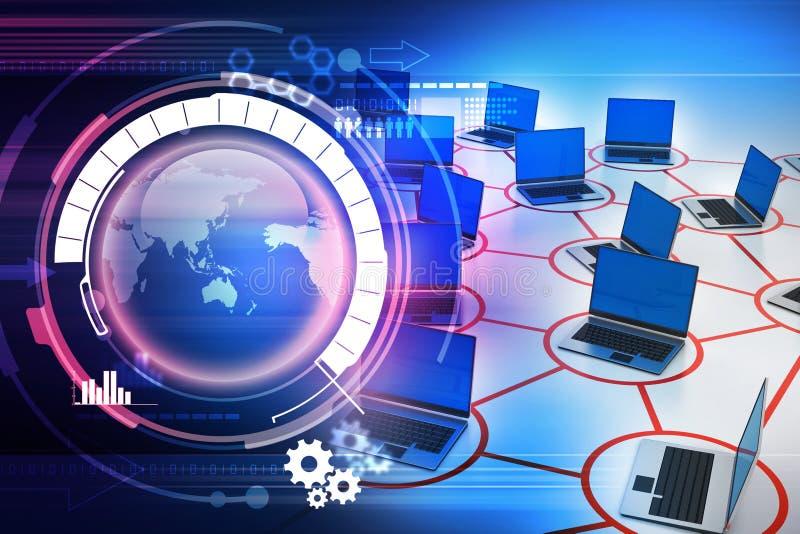 Laptop netwerk met verkeerskegel vector illustratie