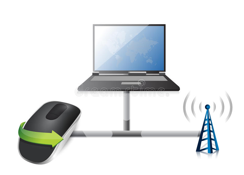 Laptop network with Wireless computer mouse. Isolated on white background stock illustration