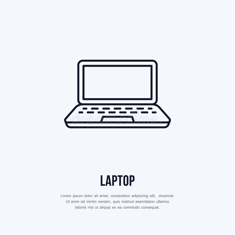 Laptop notebook with blank screen flat line style icon. Wireless technology, portable computer sign. Vector illustration. Of communication equipment for stock illustration