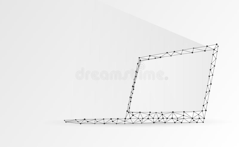 Laptop, notebook composed of polygons. Internet, computer devices symbol. Abstract, digital, wireframe, low poly mesh, vector. Origami 3d illustration royalty free illustration