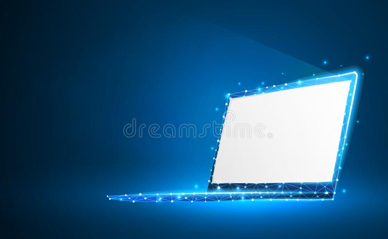Laptop, notebook composed of polygons. Internet, devices, computer symbol. Abstract, digital, wireframe, low poly mesh, vector. Neon 3d illustration. Triangles stock illustration
