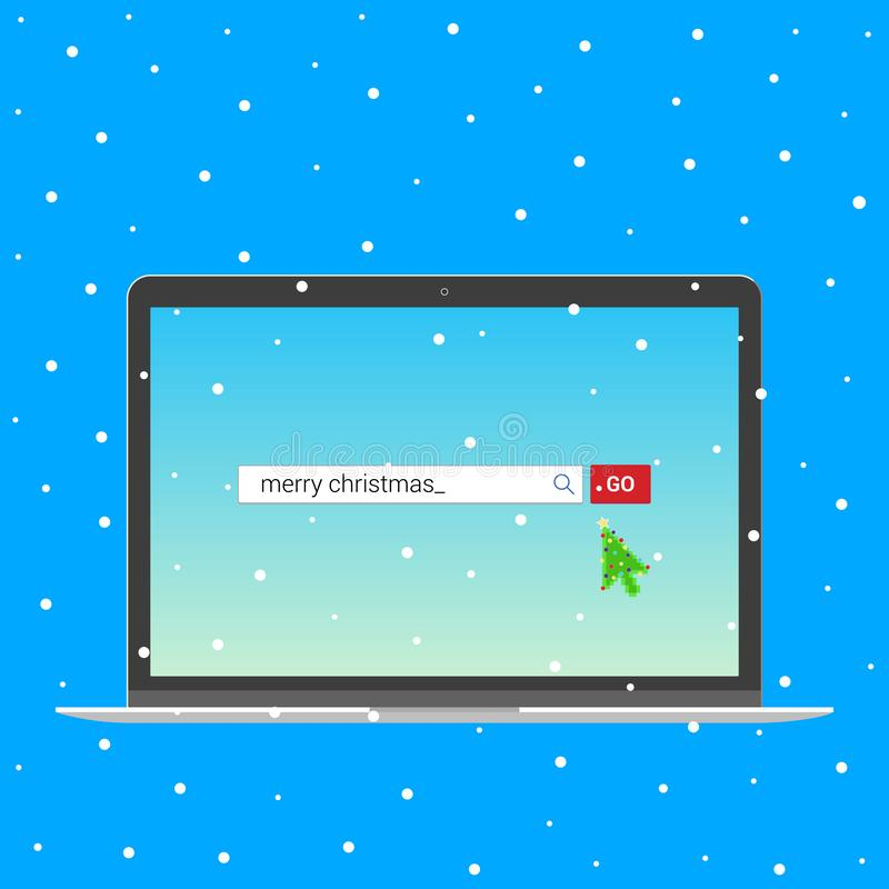 Laptop notebook device with search bar with text Merry christmas and button go with christmas tree arrow  cursor pointer. Flat style design invite to the xmas royalty free illustration