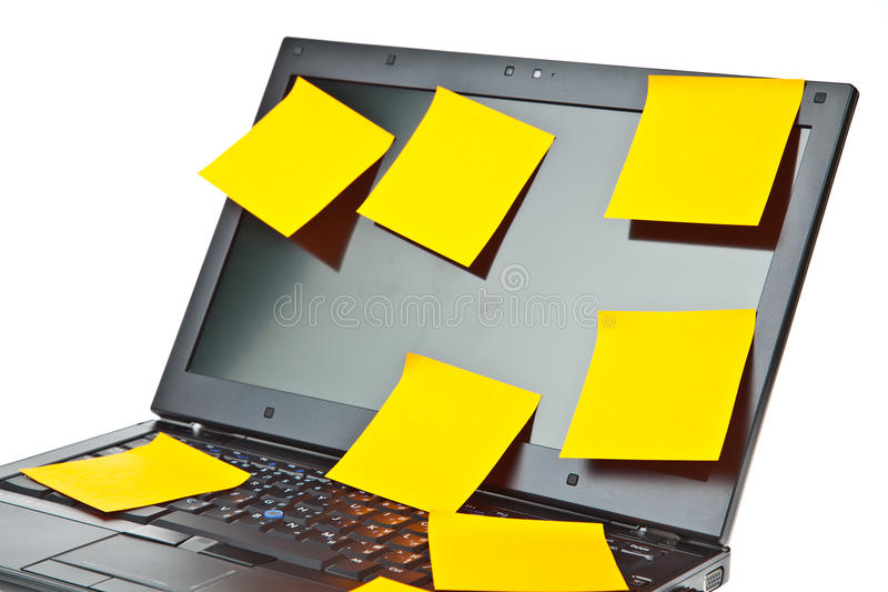 Download Laptop Notebook Isolated With Postits On It Stock Photo - Image: 19779262