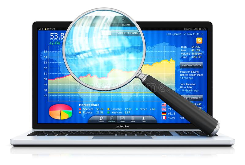 Laptop or notebook and magnifying glass. Creative abstract stock exchange market trading, banking and financial business accounting concept: 3D render vector illustration