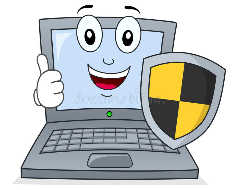 Laptop Or Notebook With Shield Antivirus Stock Vector