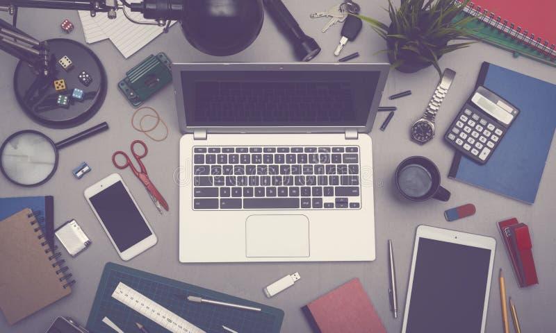 Laptop office desk royalty free stock image