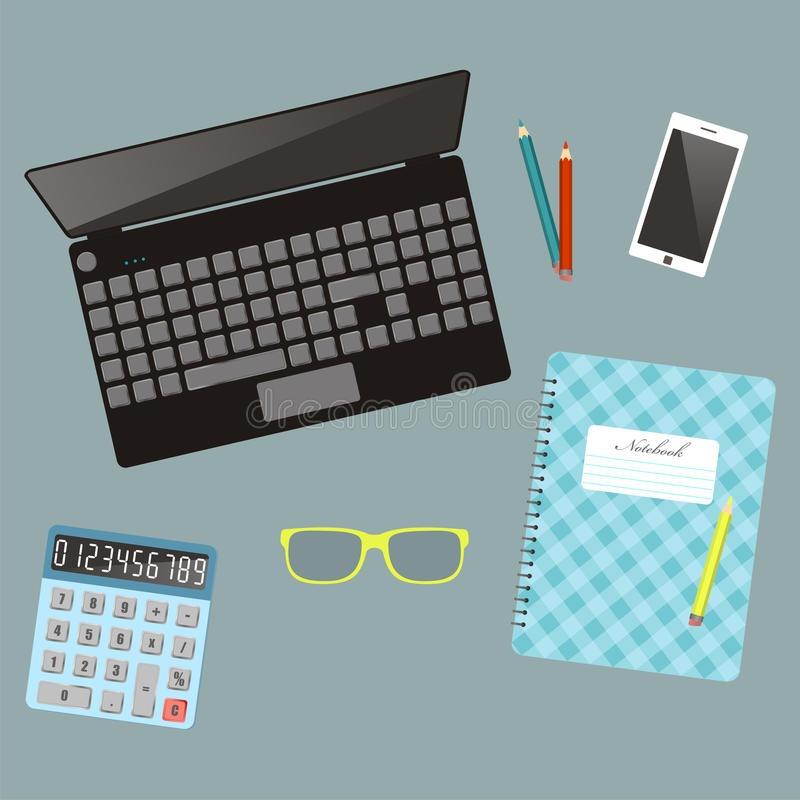 Laptop and оffice stationery. Workplace. Top view. Vector illustration. vector illustration